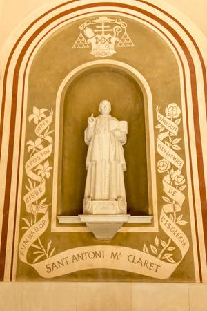 Montserrat, Spain, June 23, 2019: Statue of saint Antoni Maria Claret in the Benedictine monastery in Montserrat in Spain.