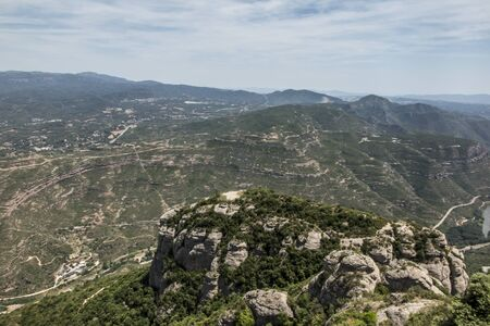 View of the surroundings from the Montserrat Monastery in Spain, located high in the mountains Stock Photo