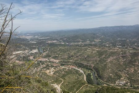 View of the surroundings from the Montserrat Monastery in Spain, located high in the mountains 写真素材