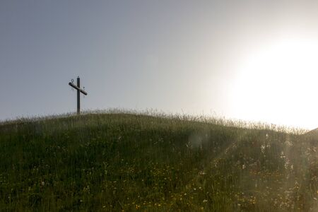 Cross on the hill above the Sanctuary of La Salette in the French Alps associated with the apparition of Our Lady from 1846