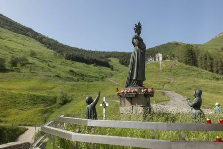 Statue depicting Our Lady of La Salette in a sanctuary in the French Alps