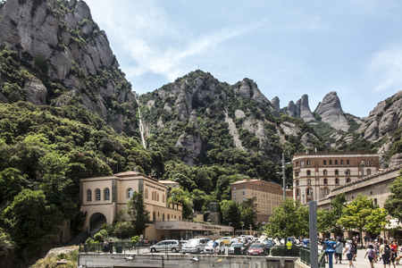 View of the surroundings from the Montserrat Monastery in Spain, located high in the mountains 報道画像