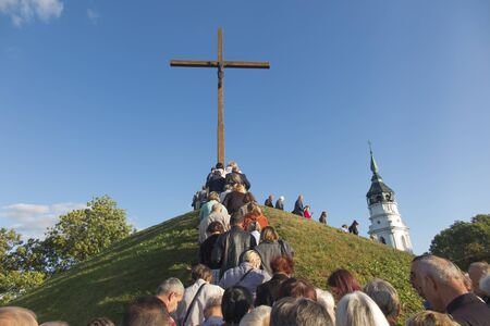 "Chelm, Poland, September 14, 2019: Prayer meeting and Way of the Cross at the Sanctuary of the Mother of God in Chełm as part of the national campaign ""Poland under the Cross"""