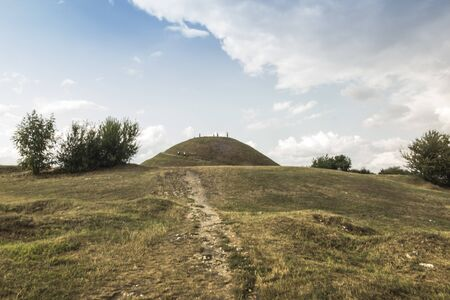 View of the Krakow Mound in Krak in Poland, a place of excursions for residents