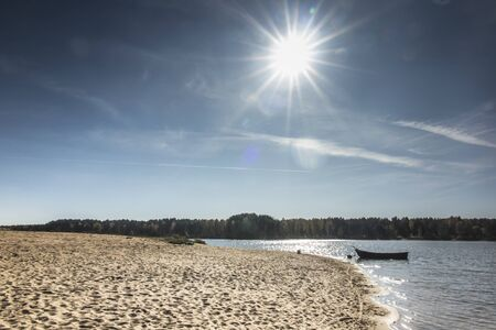 Autumn sun over the Zielona reservoir on the Mala Panew river in Poland