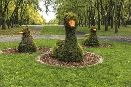 Ducks on the lawn made of wire and planted plants. Silesian Park in Chorzow, Poland