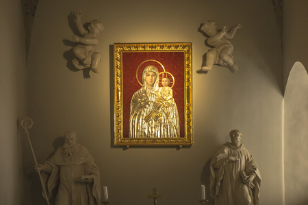 Tyniec, Krakow, Poland, August 3, 2019: Picture of the Virgin Mary with Jesus in Benedictine Abbey in Tyniec near Krakow in Poland
