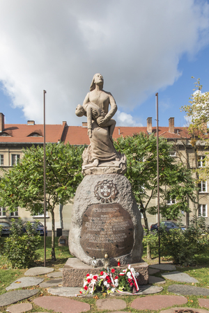 Chelm, Poland, September 14, 2019: Monument commemorating thousands of people murdered in 1943-1945 in the Eastern Borderlands of the Second Polish Republic. Pieta Volynska.