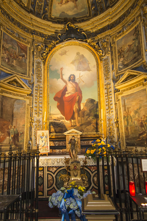 Turin, Italy, June 27, 2019: Cathedral of Saint. John the Baptist in Turin (Duomo) of Turin, Italy. one of the side altars, the Risen Christ.