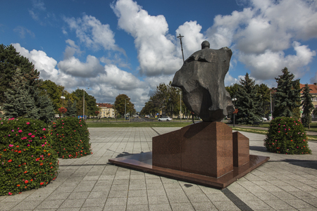 Chelm, Poland, September 14, 2019: Monument to Saint Pope John Paul II in Chelm on Independence Square, Poland Redakční