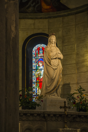 La Salette, France, June 26, 2019: Sanctuary of the Mother of God Weeping in the French Alps, interior of the church. The statue of Mary carried out of the church to the processions
