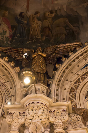 Montserrat, Spain, June 23, 2019: Interior of the Sanctuary in Montserrat in Spain, fragment of a rich interior design called the Benedictine Sanctuary of the Black Madonna 写真素材 - 134815554