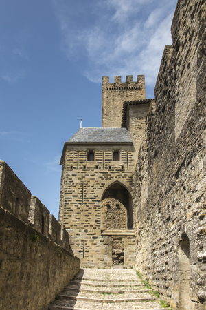 Carcasson fortificated castle is a UNESCO world heritage site, France 報道画像