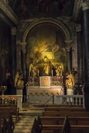 Avignon, France, June 26, 2019: Fragment of the interior of the Avignon Cathedral (Cathedral of Our Lady of Doms) in Avignon, France.
