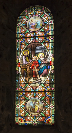 La Salette, France, 26.June 2019: Colorful stained glass window in the Sanctuary of the Weeping Virgin of La Sallette in the French Alps 報道画像
