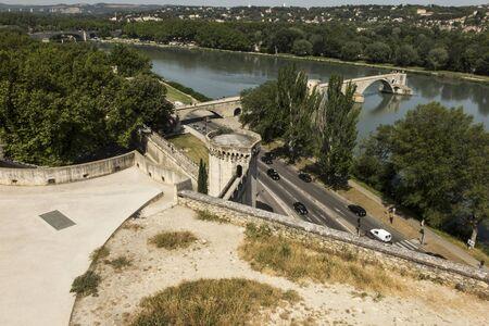 The Saint Bénézet bridge, known as the Avignon bridge, facing the city of Villeneuve les vignon. Vaucluse. France.