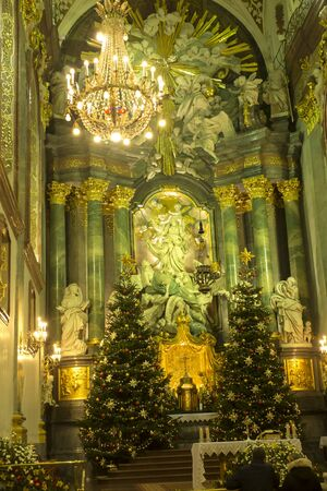 Czestochowa, Poland, January 1, 2020: Cathedral on Jasna Góra in Czestochowa in Poland decorated with Christmas trees and lights during Christmas.