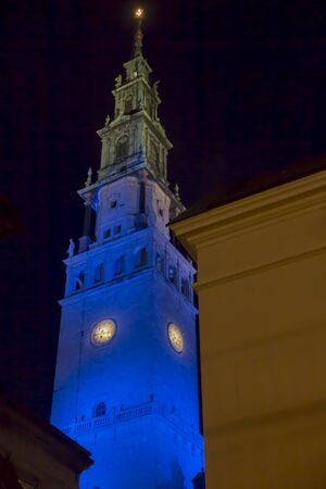 The tower in the sanctuary at Jasna Góra in Czestochowa in Poland illuminated in blue on the day of Saint Mary the Holy Mother of God in the evening on the first day New Year 2020.
