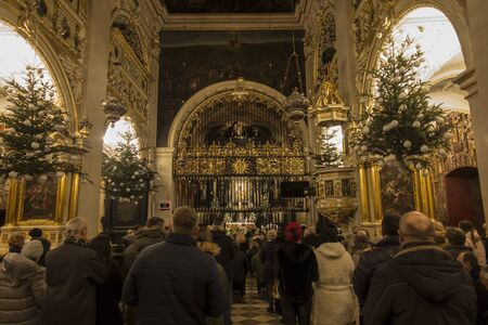 Czestochowa, Poland, January 1, 2020: Chapel of the Blessed Virgin Mary at Jasna Góra in Czestochowa in Poland decorated with Christmas trees and lights during Christmas.