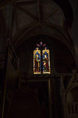 Avignon, France, June 26, 2019: Fragment of the interior of the Avignon Cathedral (Cathedral of Our Lady of Doms) in Avignon, France -  stained glass 報道画像
