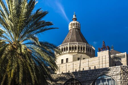 Dome of the Basilica of the Annunciation in Nazareth, Israel, against the blue sky