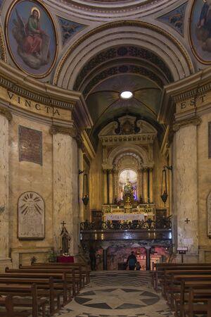 Haifa, Israel, January 26, 2020: Interior and altar at the famous Stella Maris church in Haifa, Israel Standard-Bild - 139580981