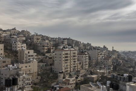 View of Bethlehem in the Palestinian Authority from the Hill of David, from the monastery of the Discalced Carmelite nuns.