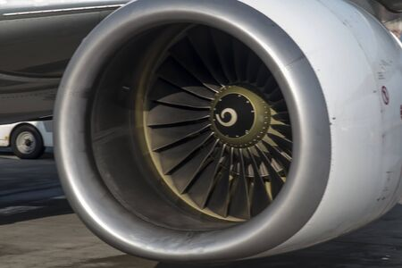 view of the air inlet to the aircraft engine