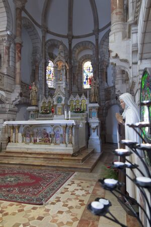 BETHLEHEM, Palestinian Authority, January 28, 2020: Carmelite convent on the Hill of David. In the monastery church there is a reliquary with the relics of the holy Baouardy Miriam, Mary of Jesus Crucified, the Little Arab women