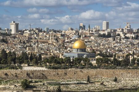 Panorama overlooking the Old City of Jerusalem, Israel, including the Dome of the Rock and the Western Wall. Taken from the Mount of Olives. Stock Photo
