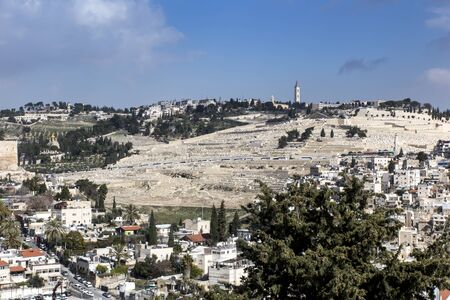 dense buildings in one of the Jerusalem areas in Israel as a backdrop