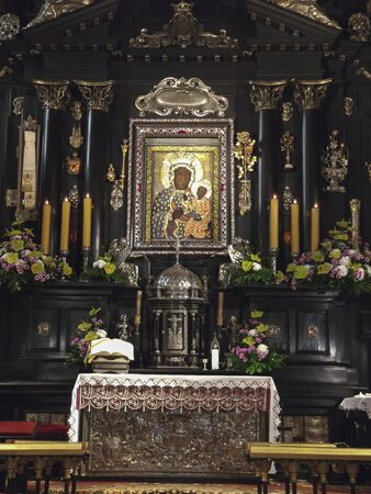Czestochowa, Poland, March 19, 2020: Jasna Gora Monastery: chapel and Wonderful Image of the Black Madonna of Czestochowa (Our Lady of Czestochowa)