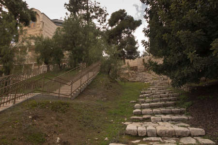 Jerusalem, Israel, ancient staircase near Church of Saint Peter in Gallicantu: Many Christians believe that Jesus followed this path down to Gethsemane the night of his arrest