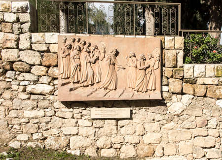 JERUSALEM, ISRAEL January 30, 2020. Bas-relief in Jerusalem at the church of St. Peter in Gallicantu on Mount Zion, along the road that Jesus followed before his death from the Upper Room to the Mount of Olives and back, Jerusalem, Israel
