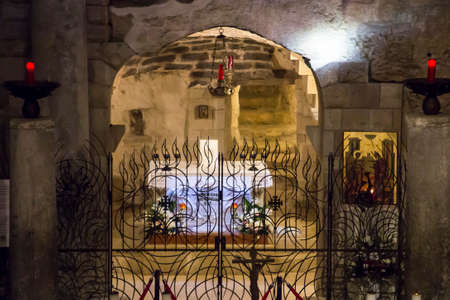 Nazareth, Israel, January 26, 2020: Lower chapel with an altar at the Basilica of the Annunciation in Nazareth, Israel Editorial
