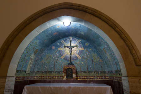 Ein Kerem, Jerusalem January 28 2020: Interior of the Church of the Visitation on the site of the house of the cousinen of the Virgin Mary, Elisabeth at Ein Karen in Israel