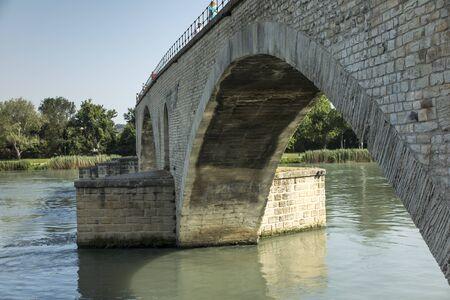 The Saint Bénézet bridge, known as the Avignon bridge, photo taken from below