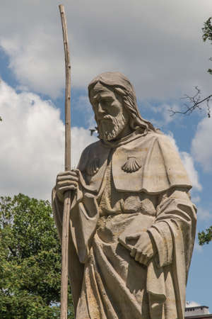 Statue of Saint James next to the church of St. Jakub in CzÄ™stochowa in Poland. The place where three pilgrimage routes descend to Santiago de Compostela - Camino