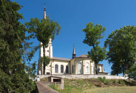Church of st. Jakub in Saczow, Poland, in Silesia, which is on the route of two pilgrimage routes of St. James to Santiago de Compostela - Camino (Jasnogorska and Via Regia) Stock Photo
