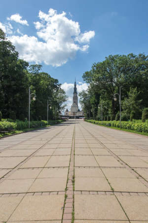 Deserted access to the Sanctuary of the Blessed Virgin Mary at Jasna Gora in CzÄ™stochowa, Poland. Far fewer people after the Crown Virus pandemic come to the Sanctuary