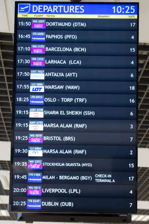 Katowice, Poland, January 25, 2020: Departures information board, Katowice Airport, Pyrzowice, place of waiting before the departure of the plane. Editorial