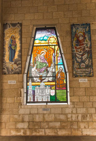 NAZARETH, ISRAEL January 26, 2020; A Mosaic donated by the people of Italy, one of the mosaics offered by different nations, in the Church of Annunciation, in Nazareth, Israel