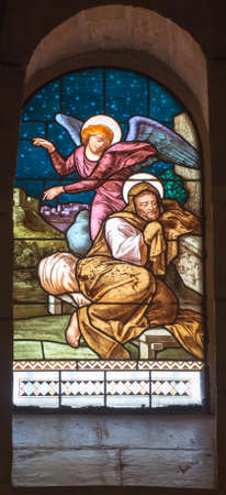 Nazareth, Israel. January 26, 2020: St. Joseph's Church, stained glass window, details. The Angel Appears to St. Joseph in a dream. Editorial