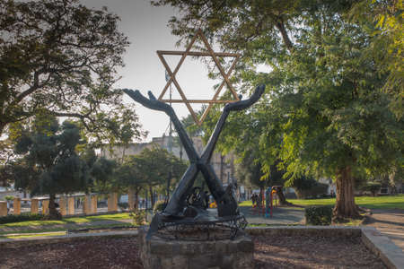 Monument with the Star of David on the square in the city of Tiberias on the Sea of Galilee, Israel,