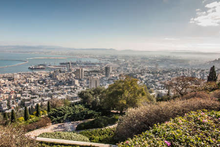 View of Haifa from the hill. Haifa is an Israeli city and port on the Mediterranean Sea.