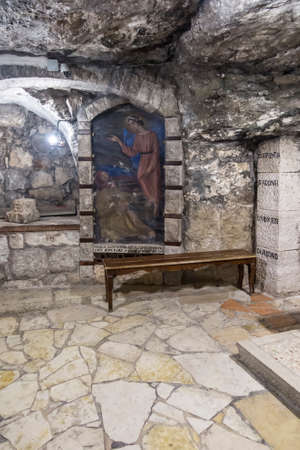 BETHLEHEM, Palestine, January 28, 2020: Caves under the Basilica of the Nativity in Bethlehem. Painting - An angel appeared to st. Józef in a dream Pale