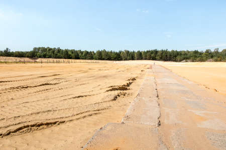 partial afforestation of the former sand mine, planted with pine seedlings, in the background a zinc and lead smelter