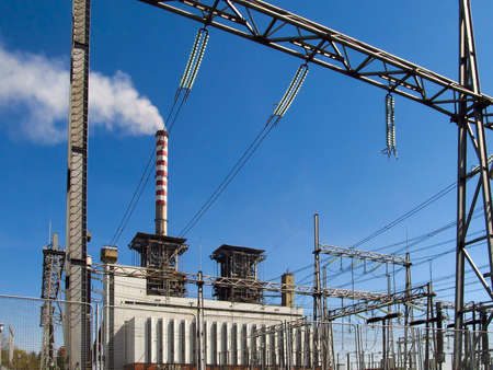 view of power plants and distribution networks and high voltage
