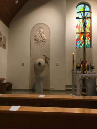 Dyrdy, Poland, May 30, 2017: The interior of the branch church of Saint John Paul II in Dyrdy, Miotek parish in the Diocese of Gliwice Editorial