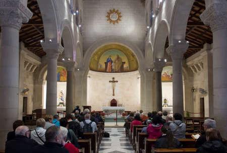 Nazareth, Israel, January 26, 2020: Interior of the church of St. Joseph in Nazareth, Israel 新聞圖片